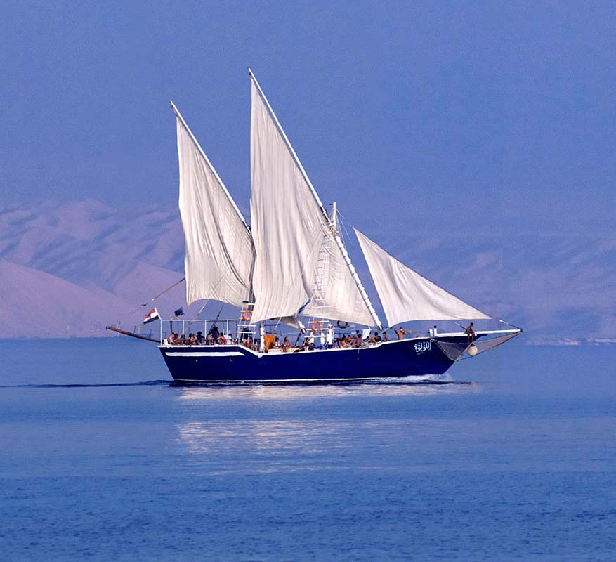 a sailing boat in red sea waters at taba heights sinai egypt