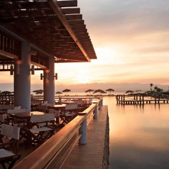 lagoon restaurant in strand taba heights resort with sunset view