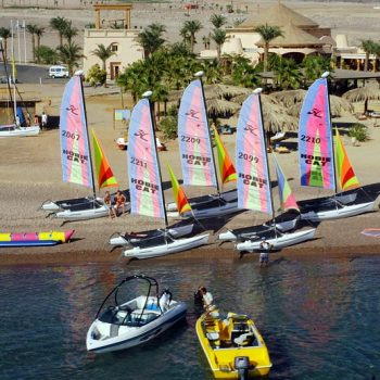 sailing small boat at water world area in taba heights red sea sinai