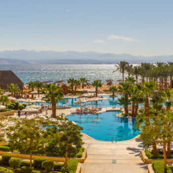 sea , mountains and pool view from strand beach resort taba heights sinai